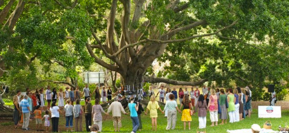 Dozens of people holding hands around a tree in the forest
